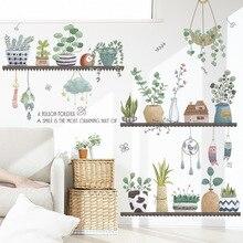 Amovible en pot plante Stickers muraux salon chambre décoration murale écologique Stickers muraux vinyle Art peintures murales