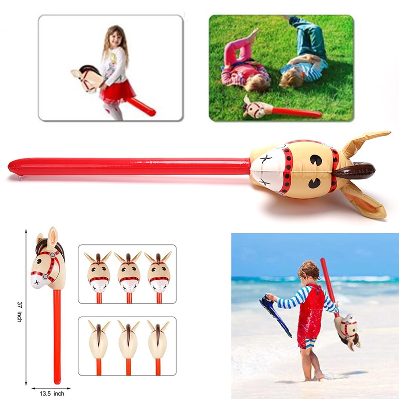 Inflatable Horse Heads Cowgirl Stick PVC Balloon Outdoor Educational Toys for Children Babies Birthday Gifts 1Pc