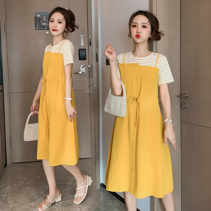 6619# Summer Patchwork Maternity Nursing Dress Drawstring Slim Waist Elegant Feeding Clothes for Pregnant Women Pregnancy Dress