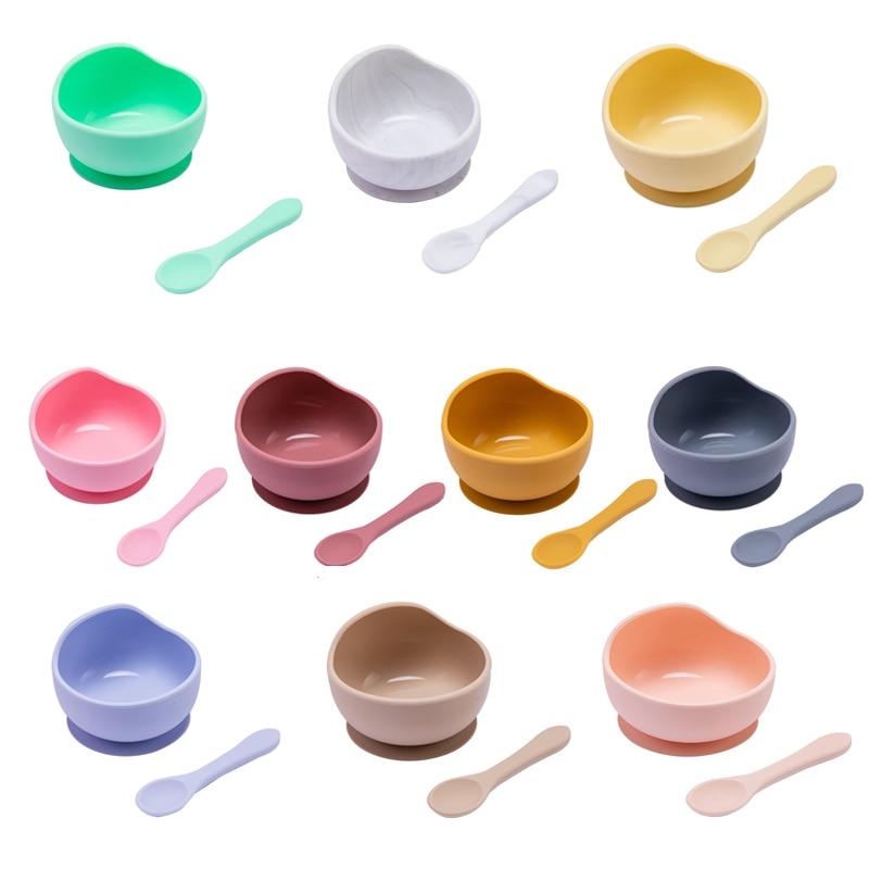 1 Набор, детская силиконовая миска, набор для кормления столовые ложки, детская посуда, присоска, фиксация, не содержит БФА