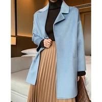 autumn winter warm women overcoat 2021 ladies long sleeve the new fashion mid long jacket coats 100 merino wool thick warm