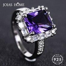 JoiasHome véritable améthyste bague pour femmes bague de fiançailles argent 925 pierres précieuses bijoux de mariage fête en gros cadeau