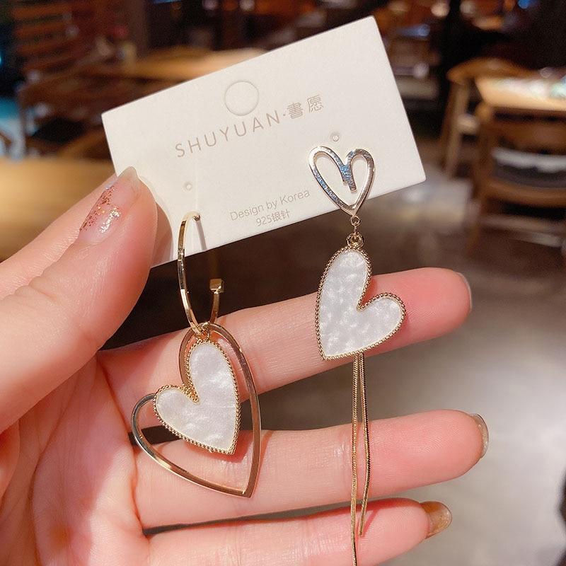 Korean Fashion Jewelry Earrings Asymmetric Love Oorbellen Statement Tassel Heart-shaped Long Women Brincos