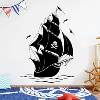 nautical home decoration pirate ship wall sticker vinyl interior kids room boys bedroom sail boat decals removable mural 4753