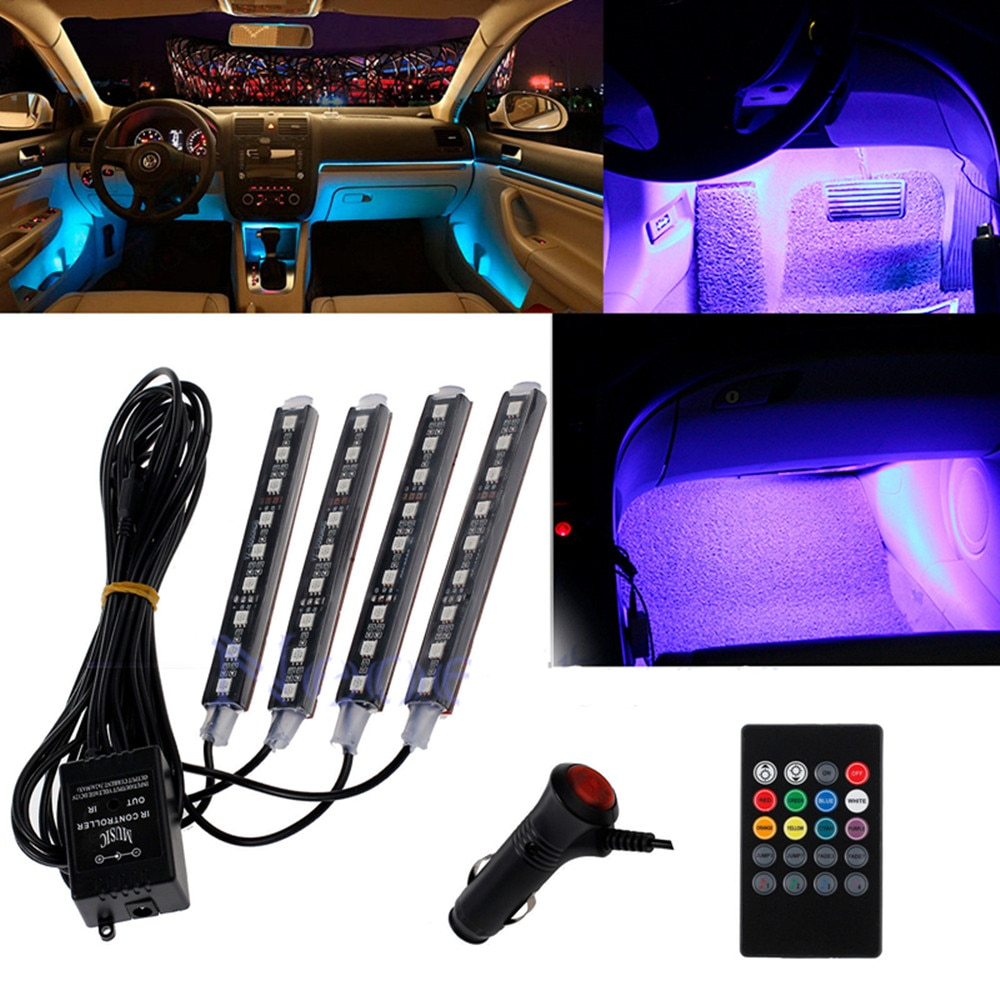 12V Car RGB LED Strip Light 7 Colors Styling Decorative Atmosphere Lamps Interior With Remote Control