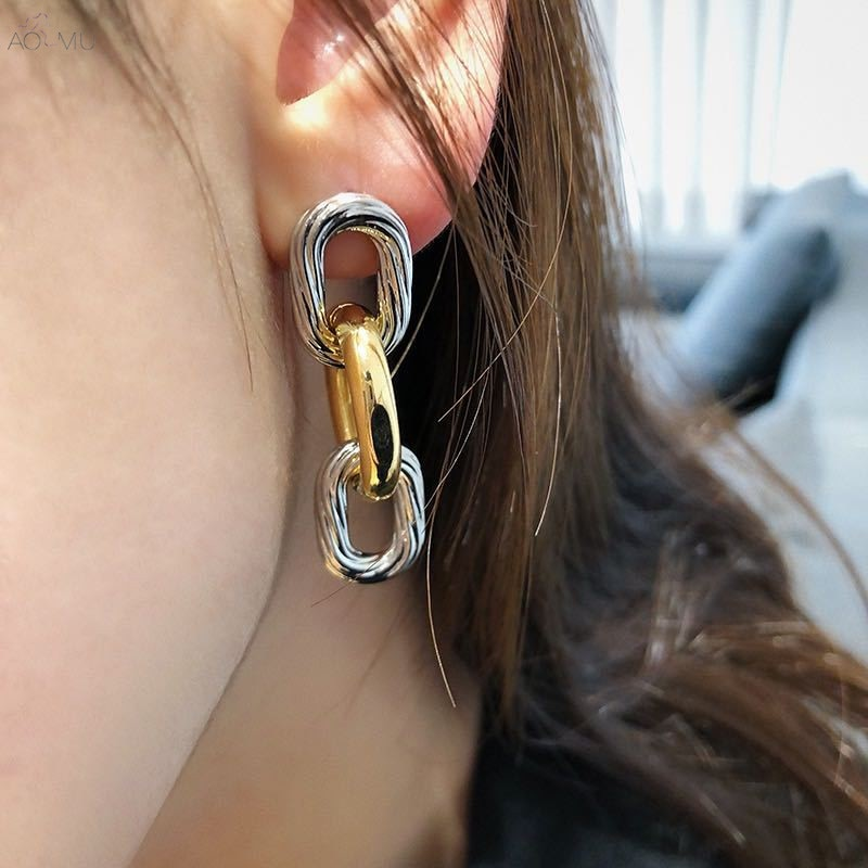 Aomu 2020 ouro prata cor hit brincos corrente de metal longo borla temperamento orelha acessórios para mulheres moda jóias presentes