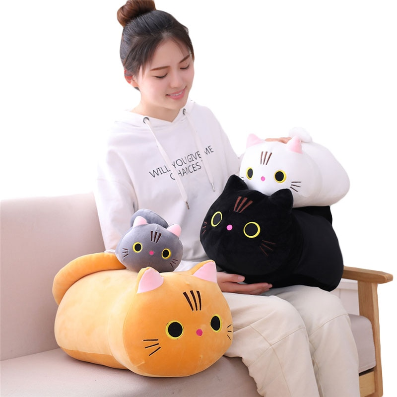 new arrive cat with fish pattern plush toy baby soft plush toys for children stuffed animal cat plush toy gift for kids birthday 25cm 35cm 50cm plush cat toy white black brown stuffed animal cat plush throw pillow kids toys birthday gift for children