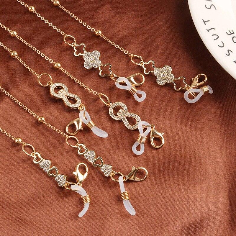 Цепочки для маскировки солнцезащитных очков для женщин, цепочки для очков с кристаллами в форме сердца и цветов, цепочки со шнурком для очко...