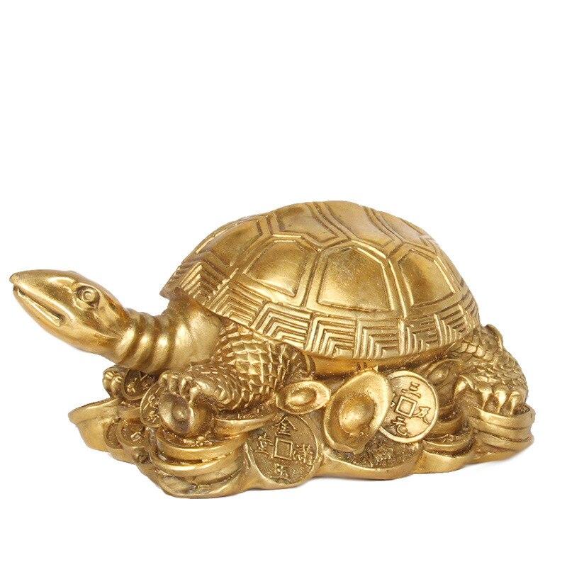 Adornos de cobre puro de la tortuga de Brasil tortuga de la longevidad Lucky protege la tortuga de la familia de bronce, Tortuga del dinero grande