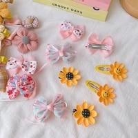 childrens hair accessories cute bowknot sun flower multiple color hairpins not hurting hair duckbill clips broken hairps