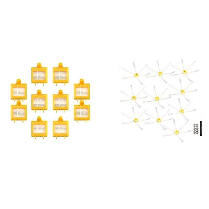 10Pcs Filter Elemente, 10PCS HEPA-Filter mit 6-Bewaffnet Seite Pinsel für IRobot Roomba 500 600 700 Serie Staubsauger