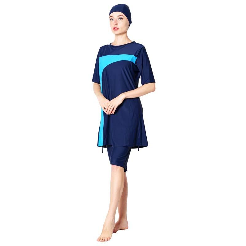 DROZENO Womens short Muslim swimsuit Beach wear Short sleeve Islams conservative large size ladies Muslim swimsuit