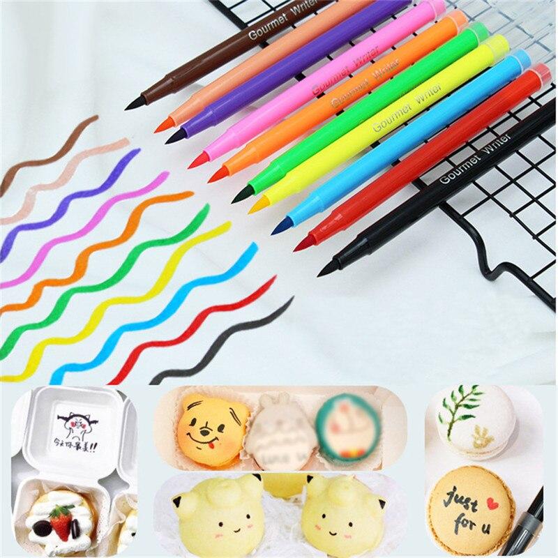 TTLIFE lápiz de pigmento comestible pincel de Color de comida lápiz de dibujo galletas herramienta de decoración de pasteles Diy para hornear pastel pintura gancho para colorear