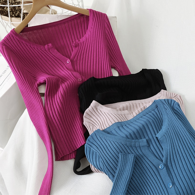 2020 New Fashion Women Sweaters O-neck Single Breasted Long Sleeve Knitted Jumpers Female Korean Chic Cotton Crocheted Cardigan