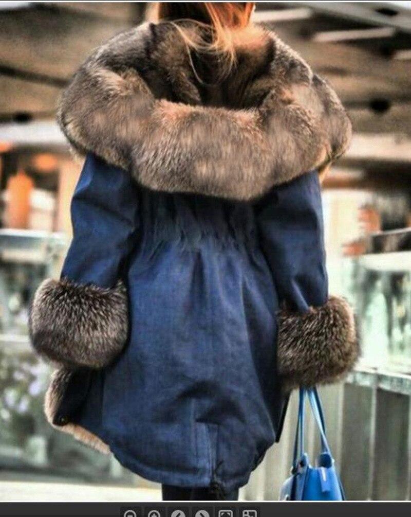 Женская меховая куртка, зимнее пальто с капюшоном и меховым воротником, теплая Длинная зимняя куртка с лисьей подкладкой, 2021