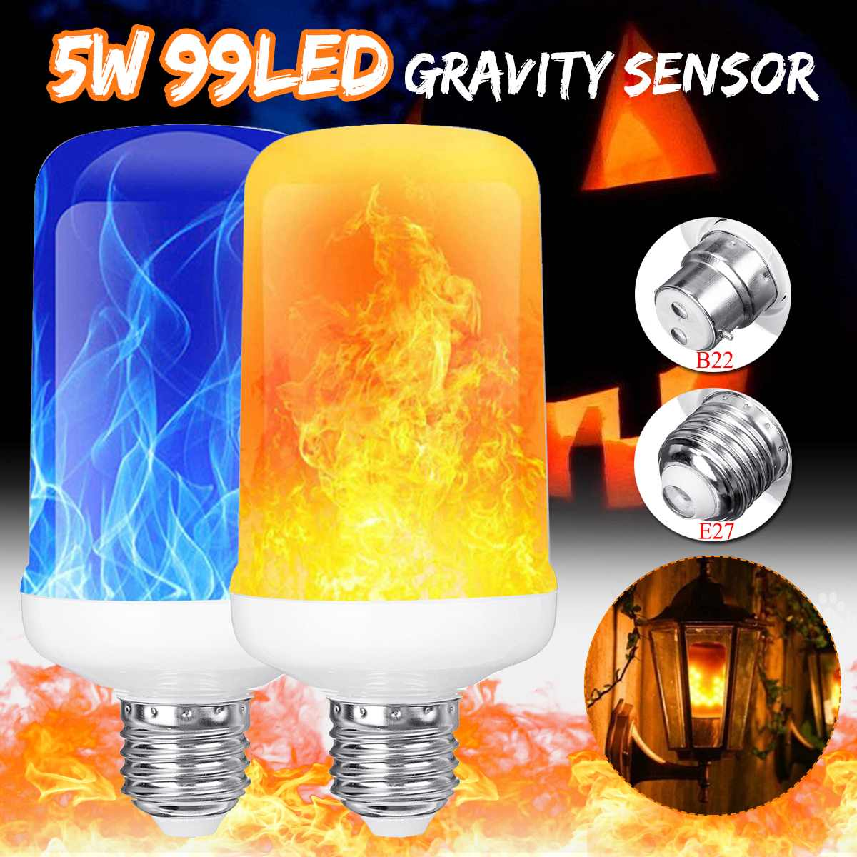 Bombilla de llama Smuxi E27 B22, Bombilla LED con efecto de llama de fuego 85-265V, Bombilla de maíz parpadeante, lámpara de decoración, lámpara LED de iluminación