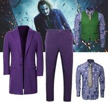 Batman chevalier foncé Joker Cosplay Costume adulte hommes violet pardessus chemise vert gilet cravate Halloween film costumes carnaval tenue