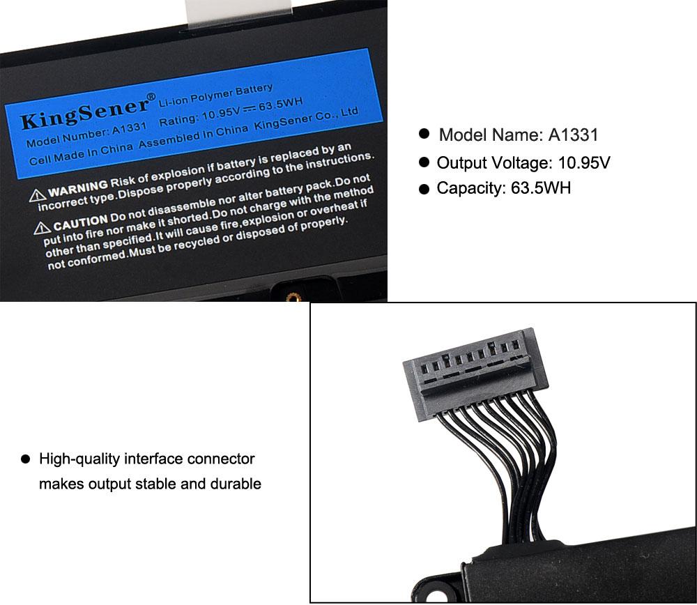 "Купить с кэшбэком Kingsener New A1331 Laptop Battery For Apple MacBook 13.3"" A1331 A1342 Unibody MC207LL/A MC516LL/A 020-6809-A 10.95V 63.5WH"