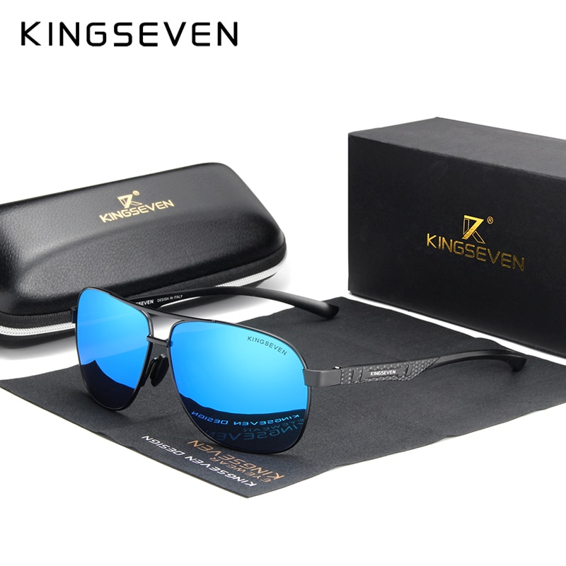KINGSEVEN 2021 Brand Men Aluminum Sunglasses Polarized UV400 Mirror Male Sun Glasses Women For Men Oculos de sol