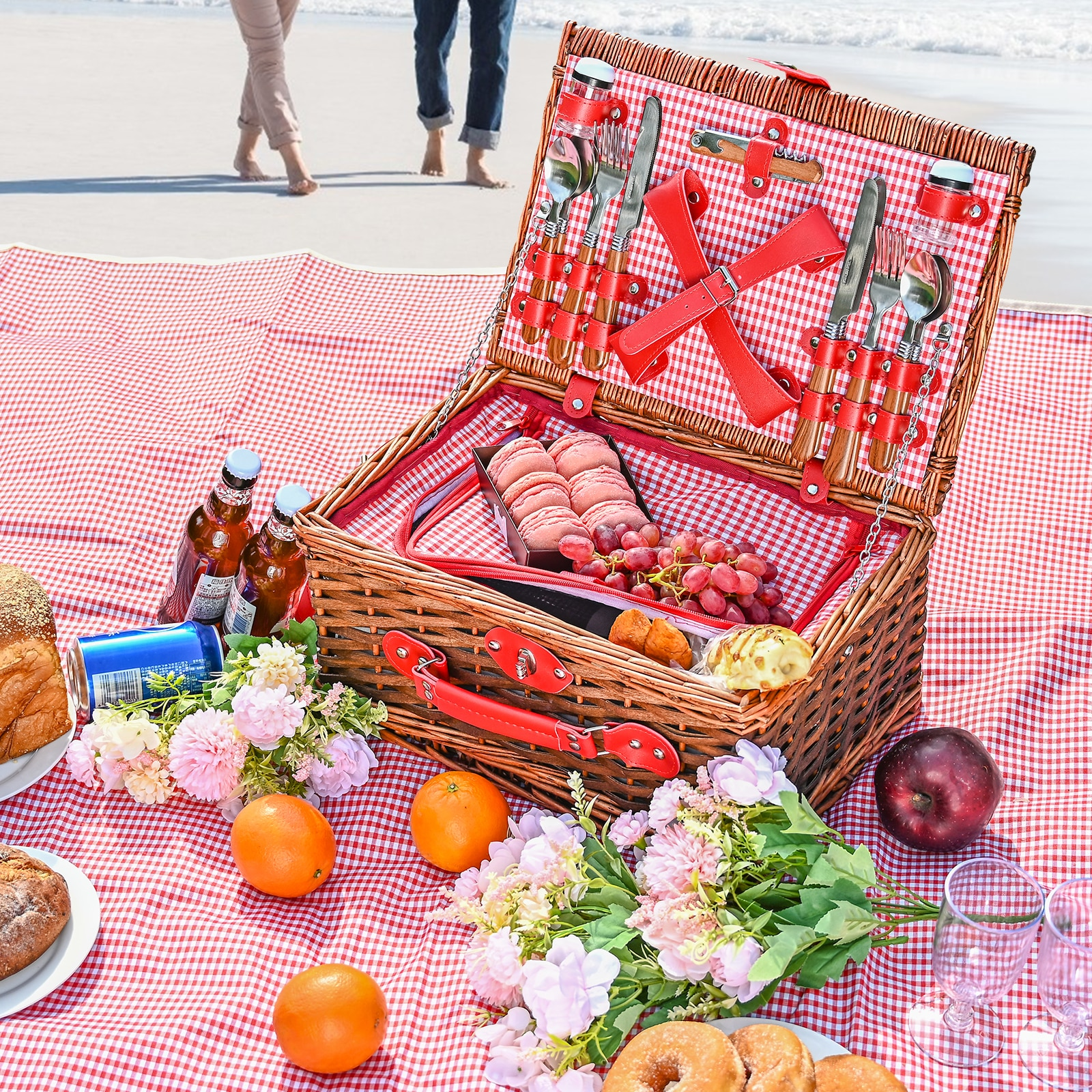 Picnic Basket Set Suitable For 2/4 People Wicker Picnic Basket Outdoor Camping Lunch Box Set With Cutlery For Picnics By Lake