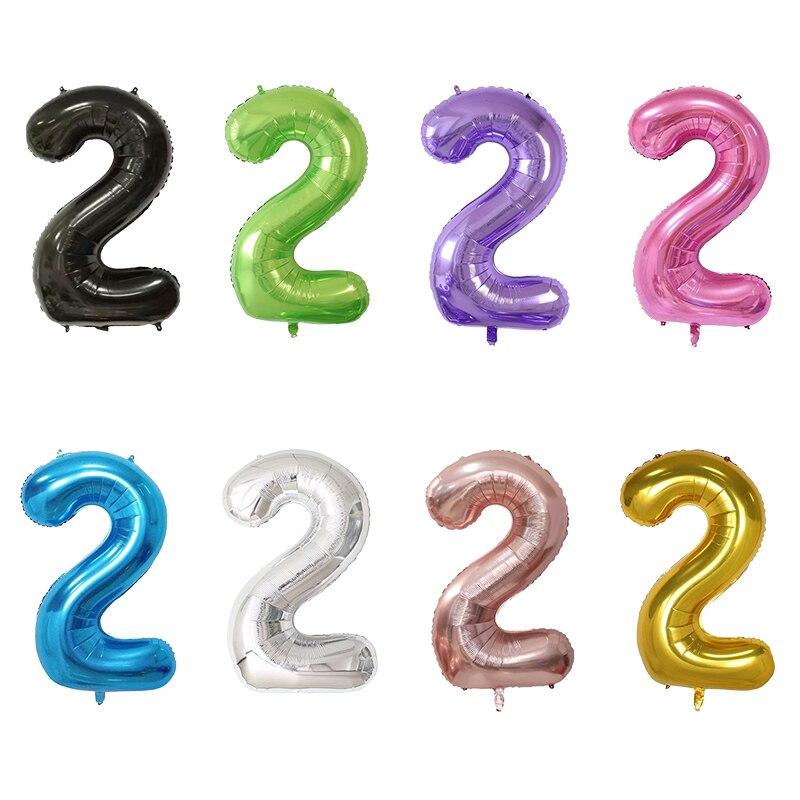 40-дюймовый светодиод количество 2 детского дня рождения розовое цвета золотистый, серебристый цвета розовый, черный цифра воздушный шар с гелием Для мальчиков и девочек 2st День рождения Декор поставки воздушные шары