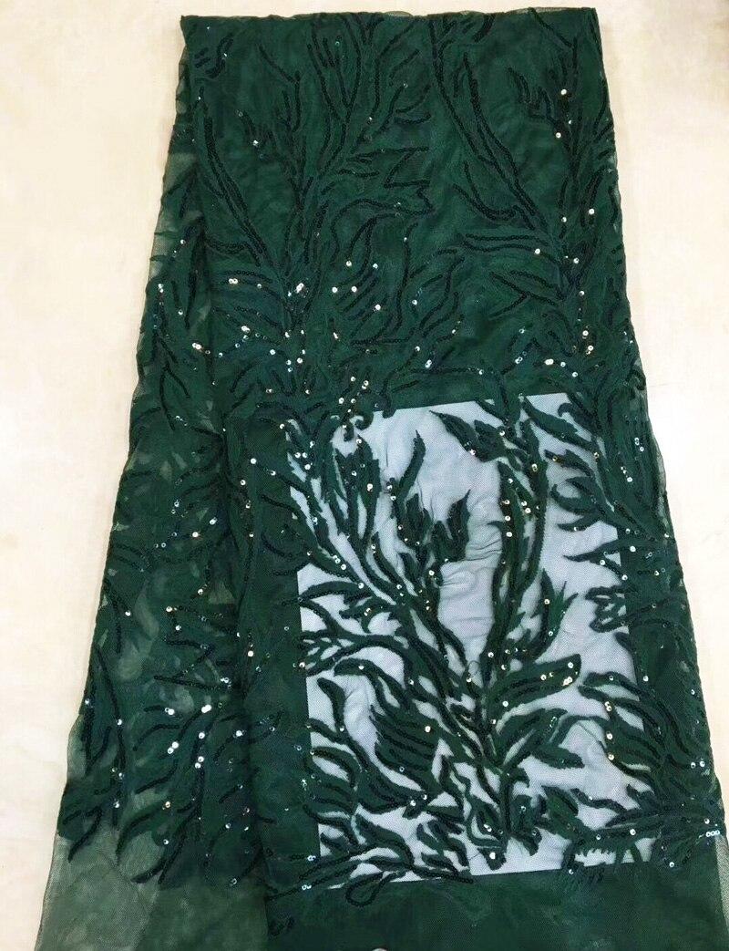 شبكة نسيج الدانتيل الفرنسي مع التطريز والترتر ، 5 ياردات/قطعة ، قماش جميل للحفلات ، أخضر زمردي ، FZZ110 ، شحن مجاني