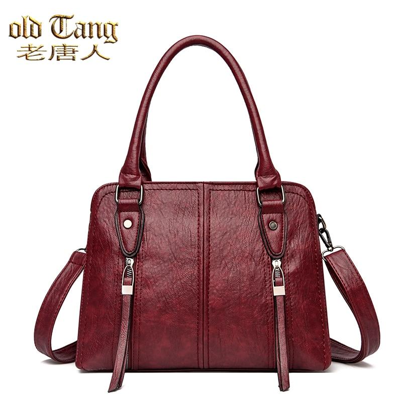 Retro Solid Color Leather Women's Handbags Soft Casual False Hand Shoulder Bags for Women 2021 New L