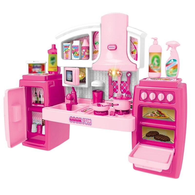 Набор игрушек для приготовления пищи, большая и легкая музыка, набор кухонных игрушек, набор кухонных принадлежностей для детей