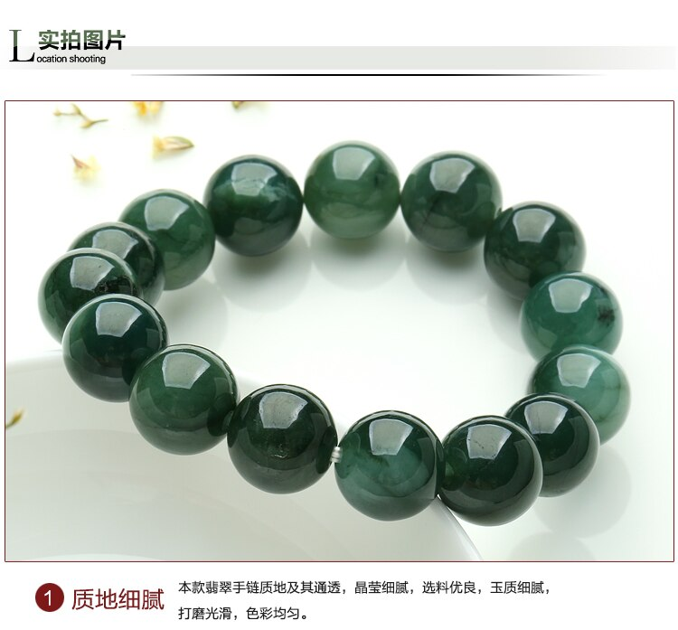 Pulsera Natural de Myanmar yu para mujer, para hombre, yu, 13mm, pulsera de mujer, pulsera de Brazalete de piedra yu natural