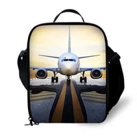 3d airplane print lunch bag for children boys durable insulated jet lunchbox small black plane lunch box customized cooler bag
