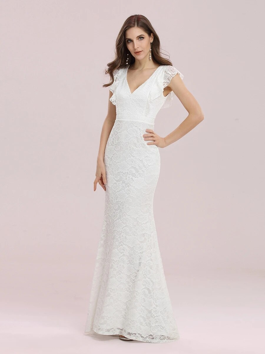 Promo Mermaid Simplicity Wedding Dress Lace With A-line Floor Length V-neck Elegant Ruffles Short Sleeves Bride Gowns Back Zipper