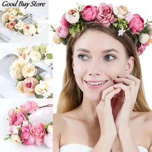 Bride Flower Crown Headwear Beautiful Garland Wreath Floral Headband Women Elegant Wedding Hair Hoop Headband Bohemian Hairband