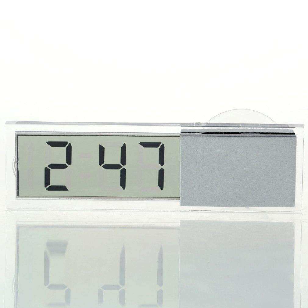 1 Uds. De peso ligero, reloj electrónico transparente duradero para coche, pantalla LCD Digital con ventosa, el reloj LCD más nuevo