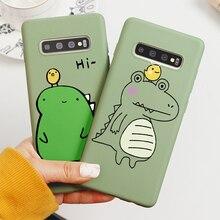 Pour Samsung Galaxy Cas S10 S11e S10e S11 S9 S8 Plus J5 J7 J3 S6 S7 J6 Bord Premier J4 J8 Plus 2018 2017 Dessin Animé Dinosaure En Silicone