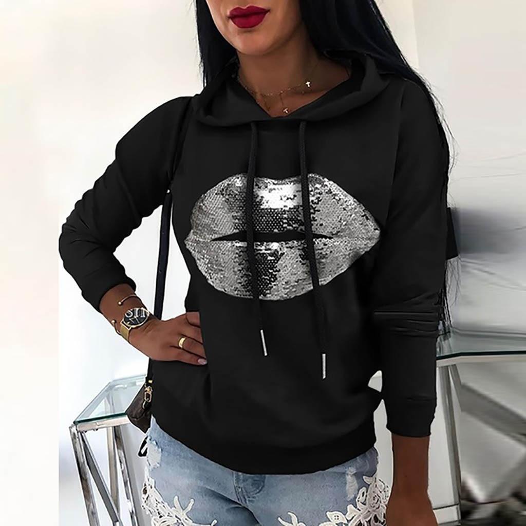 Women Lip Printed Sweatshirt Fashion Pure Color Pullover Sweatshirt Hooded Female Hoodies Loose Casu