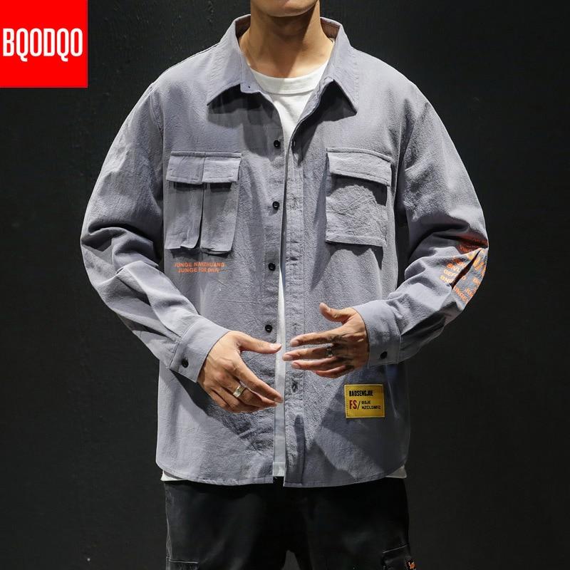 White Cotton Cargo Shirt Men Autumn Fashions Streetwear Casual Tops Male Letter Print Long Sleeve Military PLUS SIZE Shirts 5XL