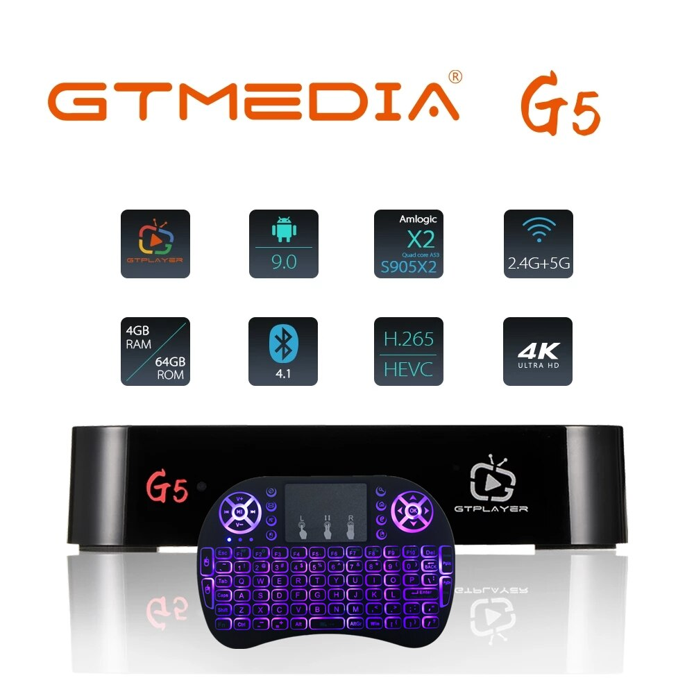 GTmedia G5 تي في بوكس أندرويد 9.0 4GB 64GB 4K H.265 ميديا بلاير ثلاثية الأبعاد فيديو جوجل مساعد 2.4G 5GHz واي فاي BT4.0 الذكية مجموعة صندوق فوقي
