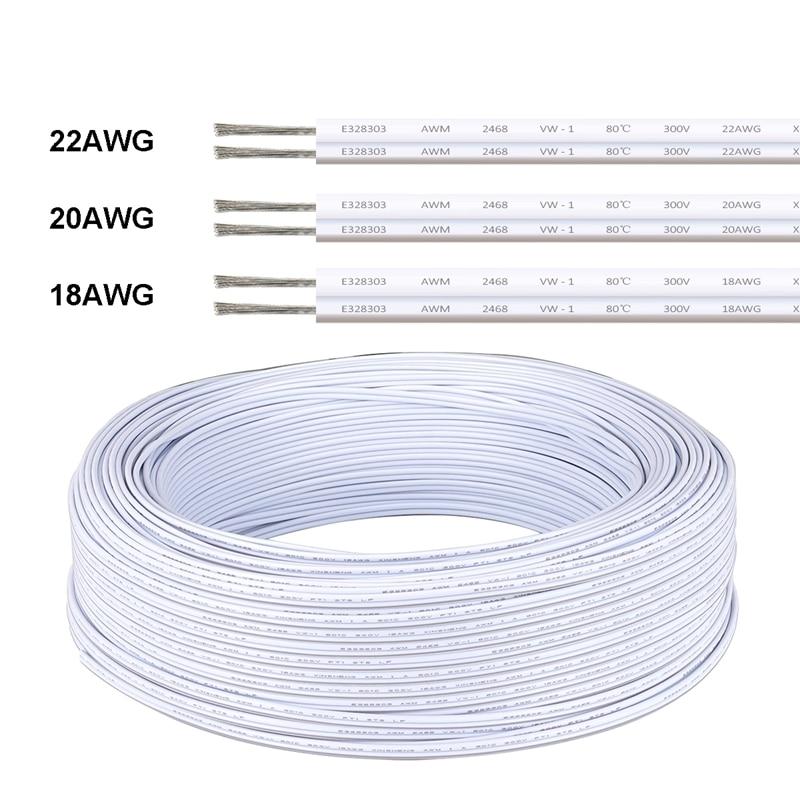 Blanco cables eléctricos alambre de cobre estañado aislados 2pin AWG 22 PVC...