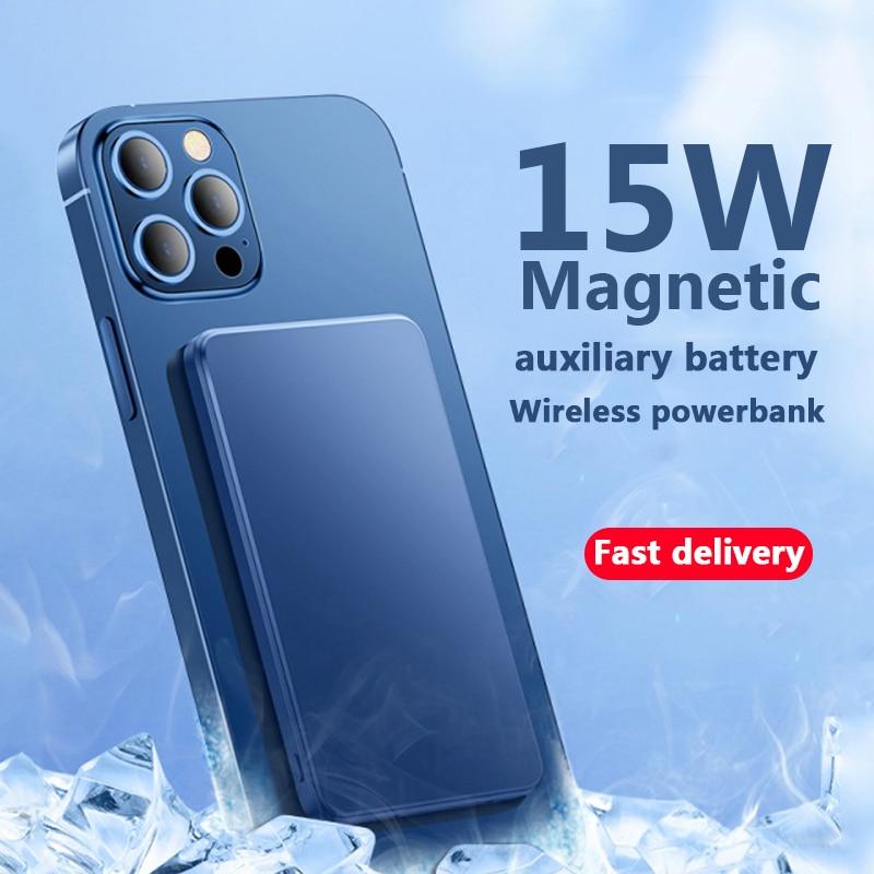 2021 10000mAh بلون جديد قوة البنك 15 واط المغناطيسي اللاسلكية شاحن الهاتف المحمول آيفون 12 magsafe بطارية خارجية