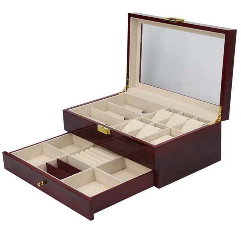 Double Layer Watch Box Organizer Wooden Glasses Jewelry Brown Storage Box Drawer Big Watch Box Case Wood Display Box Gift Ideas enlarge