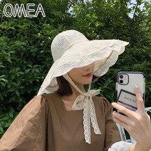 OMEA Straw Hat Women Summer Floral Lace Beach Hat Holiday Sun Visor Strap Adjustable Wide Brim Floppy Hat Girl Cap Elegant