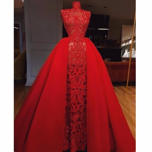 High End Red Abiye Lace Prom Dresses With Detachable Train Vinatge Beaded Long Mermaid Prom Gowns High Collar Robe De Soiree