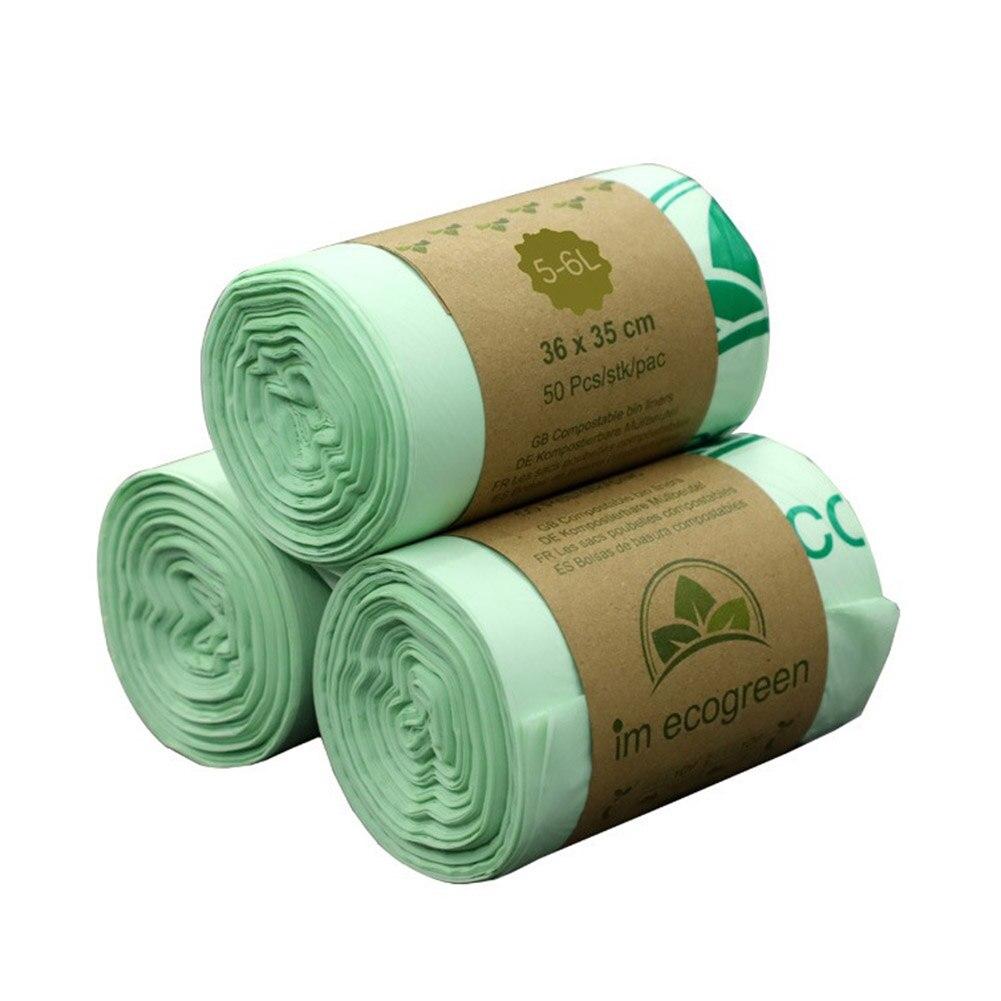 50 шт/рулон пластиковый мешок для мусора биоразлагаемые мешки для мусора компостированные мешки для мусора Мусорные Корзины Вкладыши мешки для кухни