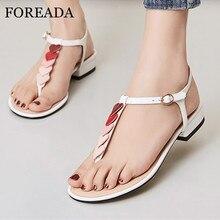 FOREADA Women Flip Flop Sandals T-Strap Shoes Mixed Color Open Toe Flat Sandals Buckle Heart Shaped Lady Footwear Red Beige 42