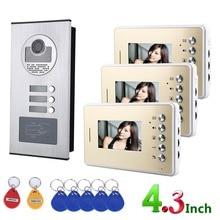4.3inch 3 Family Video Door Phone Intercom System RFID IR-CUT HD 1000TVL Doorbell Camera with 3 button 3 Monitor Waterproof