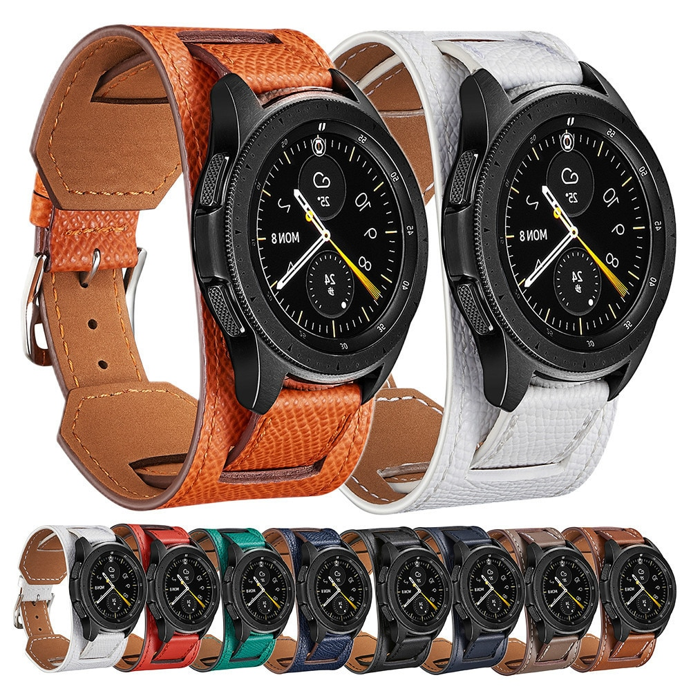 22 20mm leather Strap For Garmin Vivoactive 3  Samsung Gear S2 Active 2 Galaxy 46mm 42 Amazfit 2 3 GTR 42mm Smart Bracelet Wrist