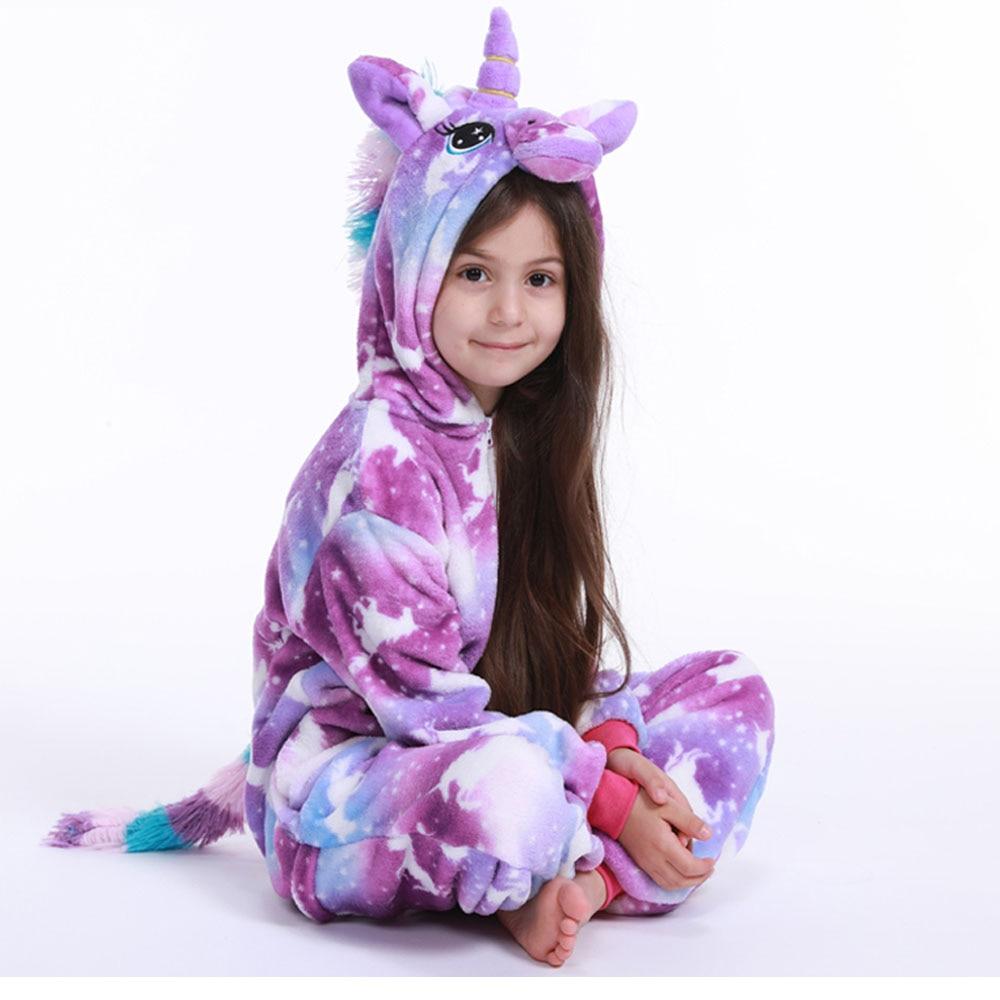 Flanell tier Kinder Pyjamas Set Winter Mit Kapuze Tier Einhorn Cartoon Kinder Pyjamas Für Jungen Mädchen Nachtwäsche Onesies