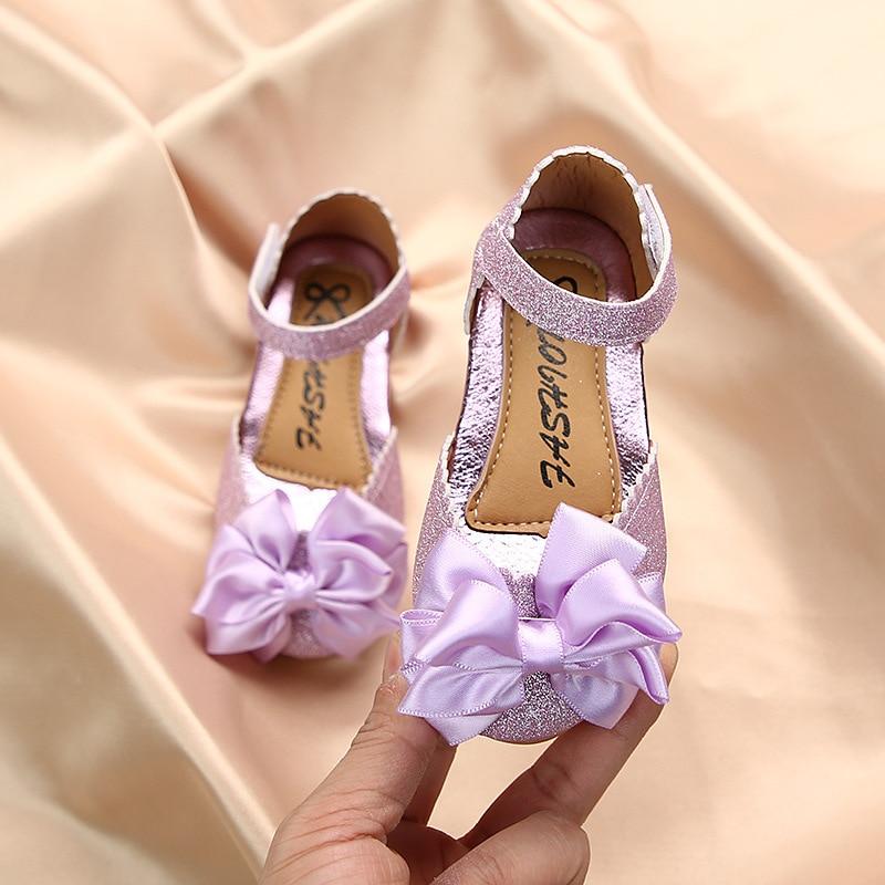الأطفال بووتي الترتر أحذية من الجلد ربيع الخريف عادية فراشة عقدة بريق بنات الأميرة الشقق للأطفال حذاء طفل صغير