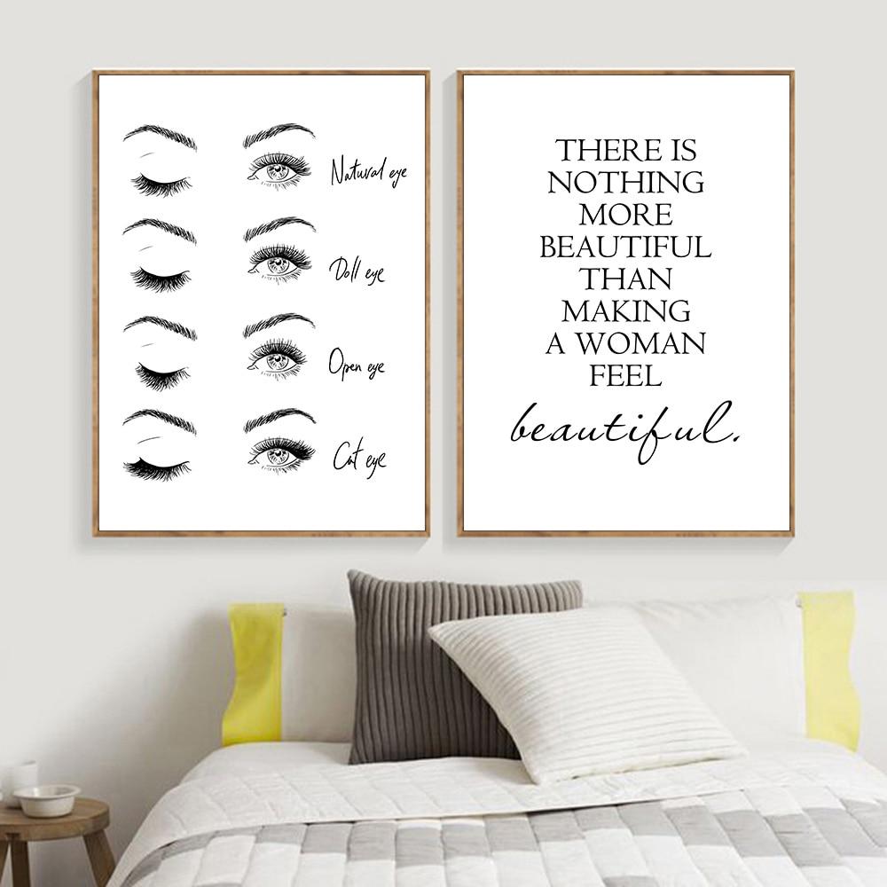 Pósteres en blanco y negro, arte de pestañas, pintura abstracta, cartel de pestañas, Impresión de Arte Moderno, cita, cuadro de pared para la decoración del hogar del dormitorio