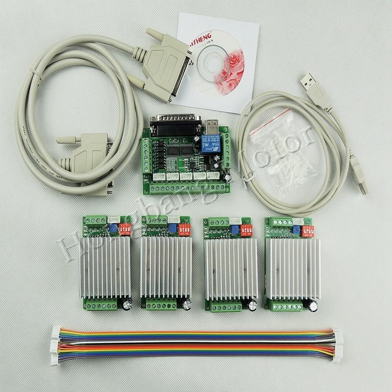 Enrutador CNC Kit de 4 ejes, kit de controlador de Motor paso a paso TB6600 4 ejes mach3 4.5A + una placa de adaptación de 5 ejes para motores nema23
